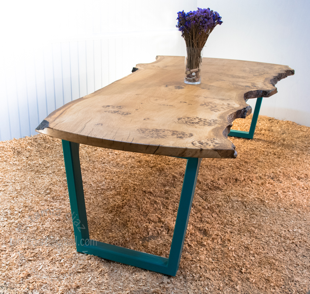 the whole table, green legs